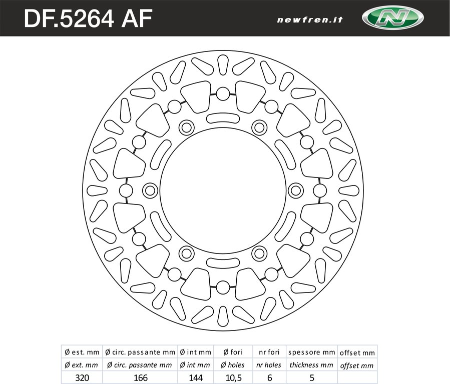 FRONT BRAKE DISC FLOATING NEWFREN TRIUMPH THRUXTON