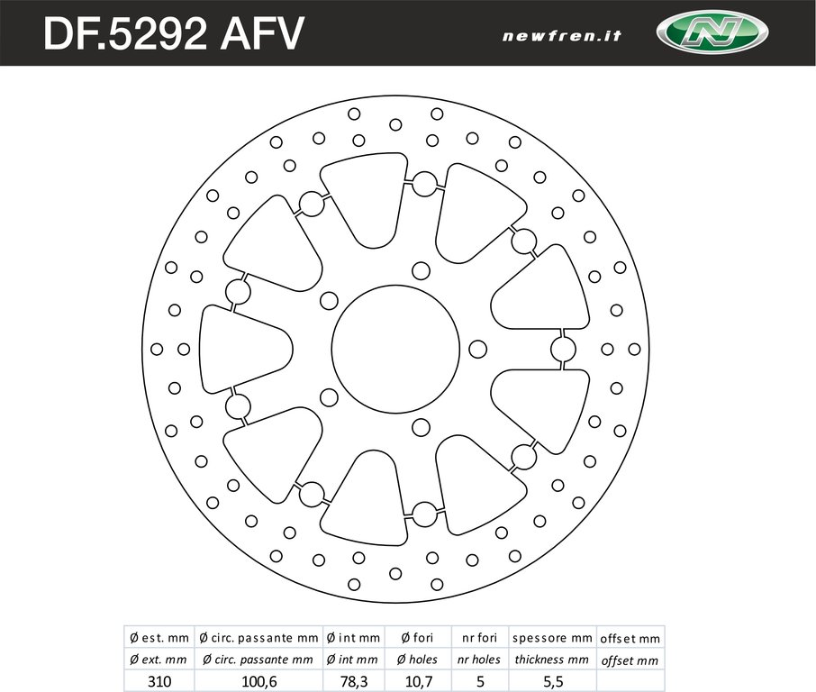 FRONT BRAKE DISC FLOATING NEWFREN TRIUMPH BONNEVILLE SE