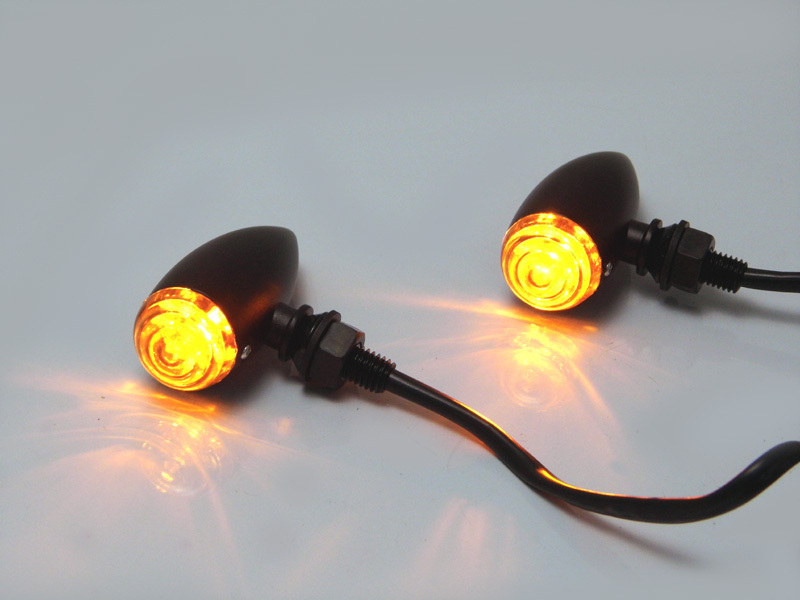 MAX BLACK ALUMINIUM CLASSIC BULLET LED TURN SIGNALS / INDICATORS