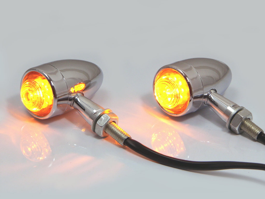 CHROME ALUMINIUM TORPEDO LED TURN SIGNALS / INDICATORS