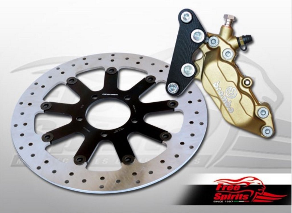 Complete kit with 4 piston Brembo Gold caliper, cnc machined mounting bracket black anodized.