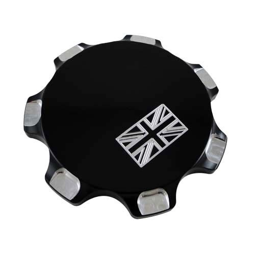 BOUCHON DE RESERVOIR ALUMINIUM CAFE RACER UNION JACK NOIR JOKER MACHINE