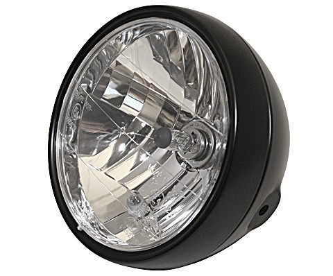 "HEADLIGHT 6 1/2"" BLACK CAFE RACER"