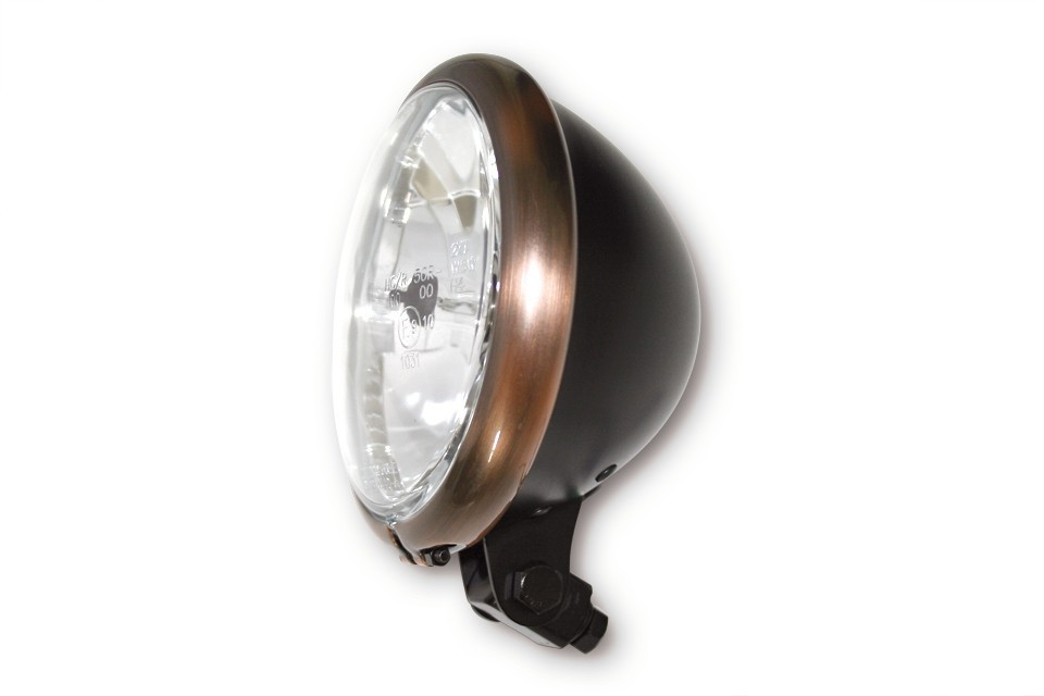 "BATES STYLE 5 3/4"" headlamp black w. copper rim"
