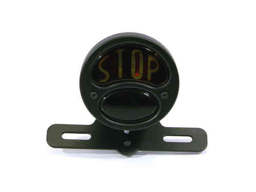 "Black Vintage ""STOP"" Universal Stop / Tail Light - Bulb Type"