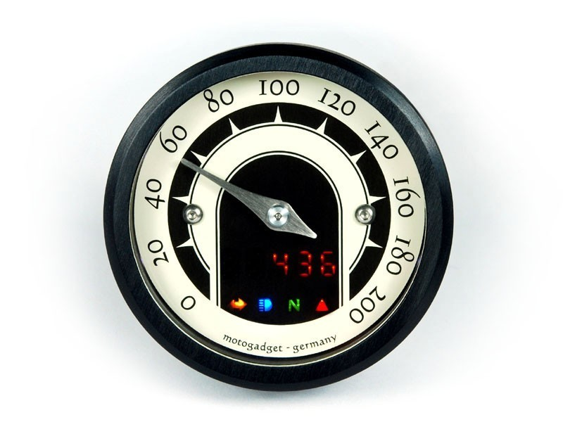 Motogadget motoscope Mst Speedster diameter 49 mm analogue Black