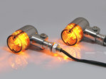Chrome Aluminium Classic Barrel LED Turn Signals / Indicators - Smoked Lense