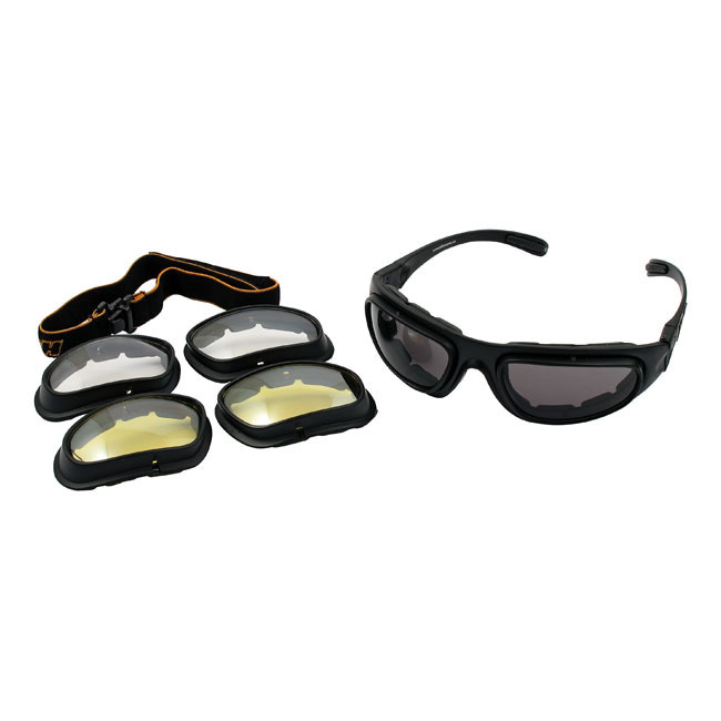 HellY Eagle Eyeglasses with Spare Optics, Clear, Smoke, Yellow