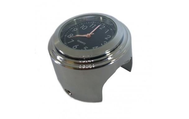 Quartz Watch Chrom for Motorcycle handlebars 7/8""