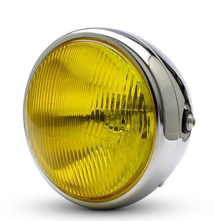 HEADLIGHT FRONT 190 MM VINTAGE OPTICAL YELLOW METAL CHROME